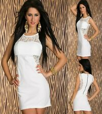 Sz 8 10 White Lace Sleeveless Bodycon Cocktail Party Formal Prom Sexy Mini Dress