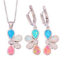 Blue Pink White Fire Opal CZ Women Jewelry Pendant Earrings Jewelry Set OT115