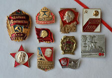 Soviet propaganda USSR badge Set of 10 Russian communist pins Lenin VLKSM KPSS