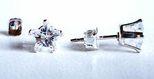 925 Sterling Silver Diamond Stud Earrings 5mm Star Created Clear Stone S861