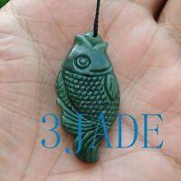 Natural Green Nephrite Jade Gemstone Fish Charm Pendant / Hand Carved Figurine
