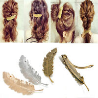 Women's Leaf Feather Gold/Silver Hair Clip Hairpin Barrette Bobby Pins Hair Accs