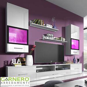 Parete attrezzata ARMONY Gihome ® bianca soggiorno moderno mobile design tv