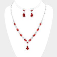 Red diamante necklace jewellery set rhinestone prom bridesmaid bling 0576