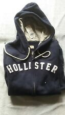 Hollister Women's Hoodie Navy Blue MEDIUM NWT zip up - embroidered logo