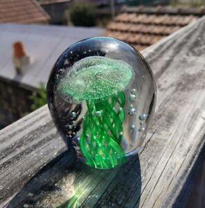 Superbe Sulfure Méduses Fossilisée Verte Presse Papier Cristal