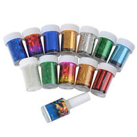 For Nail Tips Decoration & Glue Set 12 Colors Nail Art Transfer Foil Stickers