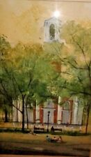 WATERCOLOR PAINTING ORIGINAL LANDSCAPE PICNIC ARTIST SIGNED STUART