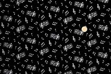 Music Notes on Black fabric fq 50 x 56 cm Nutex 89720-102 100% Cotton