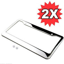 2* NotFade CHROME STAINLESS STEEL LICENSE PLATE FRAME TAG COVER&SCREW CAP Silver