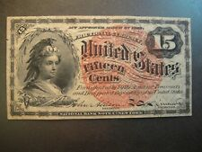 1863 United States 15 Cents Fractional Currency. Civil War Era. Extra Fine.