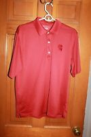 Reebok Golf Mens Play Dry Polyester NC  Red woven Short Sleeve Polo Shirt sz M