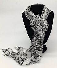 Small White & Black Printed Organza Scarf with Removable Flower Clip New