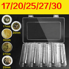 100PCS Clear Round Case Coin Storage Capsules Holder Containers W/Plastic Box