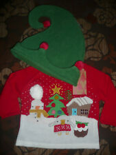 BNWT Next Baby Christmas Set/ Jumper and Elf Hat/ Size 3-6 Months
