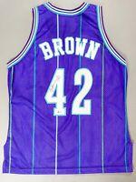 P.J. PJ BROWN Signed Autographed Basketball Charlotte Hornets Jersey BAS COA