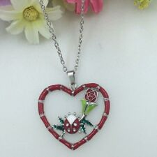 Jewelry Silver women Necklace Pendant LADYBUG RED ROSE HEART  Free $10 GIFT C567