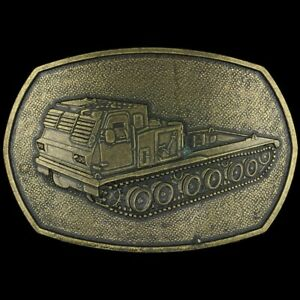 Vtg Armored Track Vehicle Military U.s. Army Brass Tone 1980s Belt Buckle