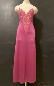 Vintage Womens Interludes Slip Dress Nylon + Lace Deep Plunge Made in USA Used