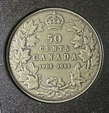 1998 (1908-) Canada Silver 50 Cent Half Dollar Antique Finish