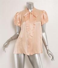 PRADA Pastel Blush Nude Satin Pleat-Front Neck Tie Short Sleeve Blouse 8-44