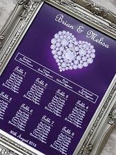 Diamante design Wedding Heart table seating plan A3 - can also print A2