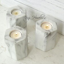 Set of 2 Carrara White Marble Effect Hexagon Tea Light Candle Holders Shudehill