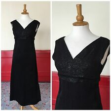 VINTAGE BLACK SHIMMERY MAXI DRESS 1960s EMPIRE LINE EVENING GOWN SIZE 6 8
