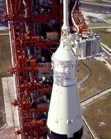 UPPER VIEW OF APOLLO 11 SPACECRAFT ATOP SATURN V - 8X10 NASA PHOTO (AA-788)