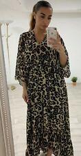 Ladies Leopard Print Chiffon Frill Tie Waist Wrap Over High Low Maxi Dress