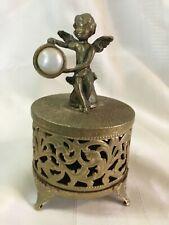 Vntg Antique Ornate Cherub Footed Gold Tone Filigree Ormolu Trinket Box Vanity