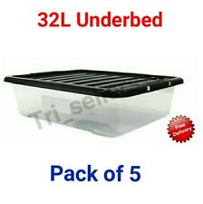 32 Litrex5 Underbed Plastic Storage Clear Boxes Strong Stackable Container