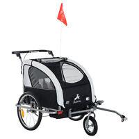 Aosom Elite II Double Baby Bike Trailer Stroller Child Bicycle Kids Jogger Black