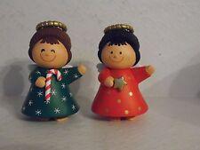 Vintage Hard Plastic Christmas Angle Kids Candy Cane Star Salt & Pepper Shakers