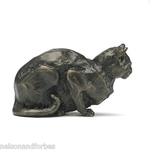"""Sue Maclaurin """"Crouching Cat"""" Solid Bronze Sculpture by Nelson & Forbes"""