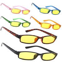 Men Women Night Day Vision Driving Slim Glasses Bad Weather Yellow Sunglasses