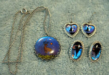 Real Actual Butterfly Wing Pendant on Chain + 2 Pair Earrings, Pierced & Clip