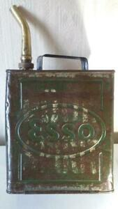 VINTAGE ESSO  2 GALLON PETROL CAN WITH BRASS SPOUT