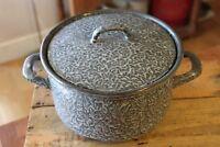 Vintage Large & Deep Mottled Grey Enamel Lidded Cooking Pot – Kitchenalia! –