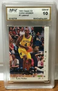 MICHIGAN WOLVERINES - CHRIS WEBBER - 1993 Classic C3 - Mint 10 - AUTHENTICATED