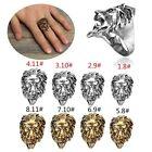 Retro Uomo Donna Anello Acciaio Inox Testa di leone Ring American Size 8-11 FE