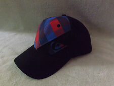 Quicksilver Sledge Black/Blue Plaid Design O/S Fits Most Hat NWT NICE!