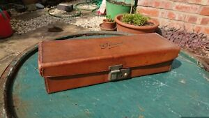 vintage tan brown leather gloves case small suitcase box