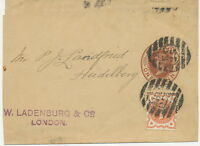 "GB QV 1d brown VF wrapper uprated w 1/2d vermilion w barred cancel ""E.C / 25"""