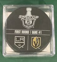 VEGAS GOLDEN KNIGHTS USED WARMUP PUCK 4/11/18 - FRANCHISE'S 1ST PLAYOFF GAME