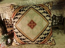 Beautiful French Country Shabby Square Vines Wool Decorative Needlepoint Pillow
