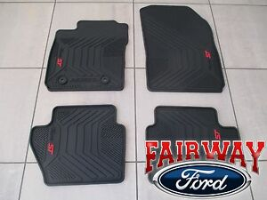 14 thru 19 Fiesta ST OEM Genuine Ford Black & Red All-Weather Floor Mat Set 4-pc