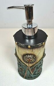 Western Concho Soap Dispenser w/Aqua Leather-Tooled Look by JT International