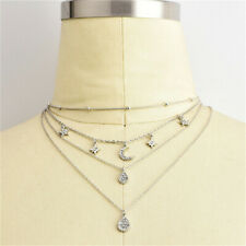 Multilayer Chain Choker Crystal Star Moon Pendant Necklace Women Boho Jewelry