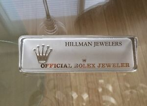 RARE Rolex Watch Advertising Crystal Counter Piece Name Placque